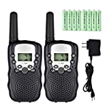 Walkie Talkies for Kids, 22 Channel 2 Way Radios Up to 3 Miles Rechargeable Walkie Talkies Long Range FRS/GMRS Walky Talky with Charger and Rechargeable Batteries (Black, Pack of 2)