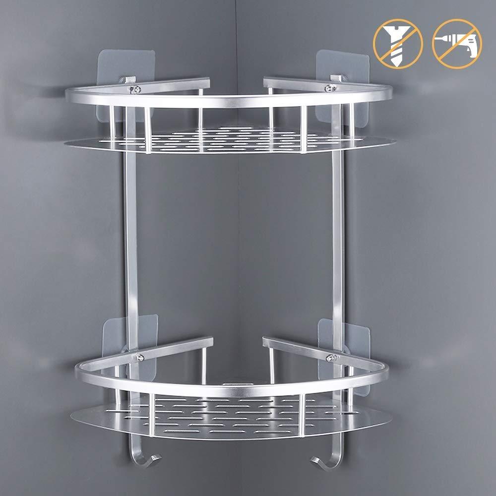 1 or 2 TIER CHROME FRAME PLASTIC BASKET SHOWER CADDY ORGANISER STORAGE TIDY
