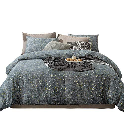 YuHeGuoJi 3 Pieces Duvet Cover Set 100% Cotton Grey Queen Size Starry Night Pirnt Bedding Set 1 Colorful Dotted Duvet Cover with Zipper Ties 2 Pillowcases Hotel Quality Soft Comfortable Lightweight (Queen Duvet Cover Space)