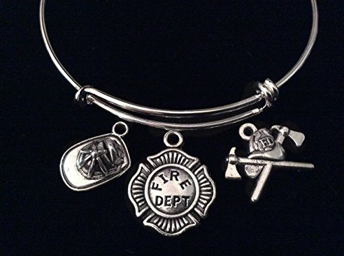 Fire Fighter Badge Helmet Expandable Charm Bracelet Silver Adjustable Wire Bangle Fireman Wife Gift ()