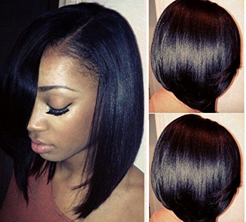 LUFFYWIG Short Bob Human Hair U Part Bob Cut Wigs 10A Virgin Brazilian Hair 130% Density Left Opening 13 U Part Wig Natural Color for Black Women(8 Inch) (U Part Wig Human)