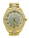 Bling-ed Out Rich and Famous Easy Reader Dial Hip Hop Mens Watch and Matching Bling Bling ID Style Designer Link Bracelet - 8546B Gold