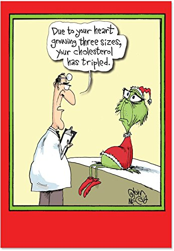 B5829 Box Set of 12 Grinch Cholesterol Funny Christmas Cards with Envelopes (Sexy Grinch)