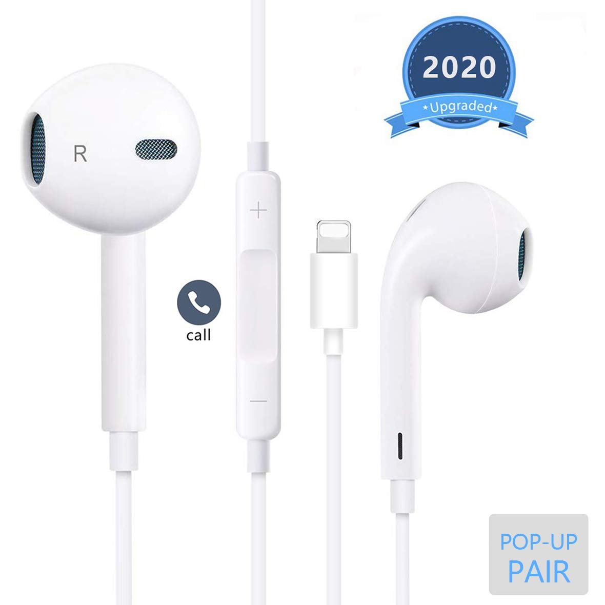 Lighting Earphones Connector Pop-up Pair Earbuds Headphones Noise Isolating Headset Support Call Volume Control Compatible with iPhone 7/7 Plus/8/8 Plus/X 10/XS Max/XR for iOS 12