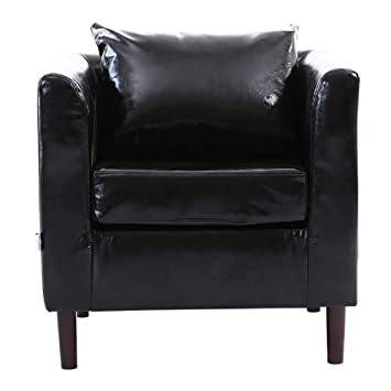 WarmieHomy Tub Chair Faux Leather Occasional Chair Upholstered Armchair  with Solid Wood Legs for Bedroom Living 218f15c1ff784