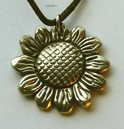 Sunflower - Pewter Pendant - Flower Necklace, Floral ()