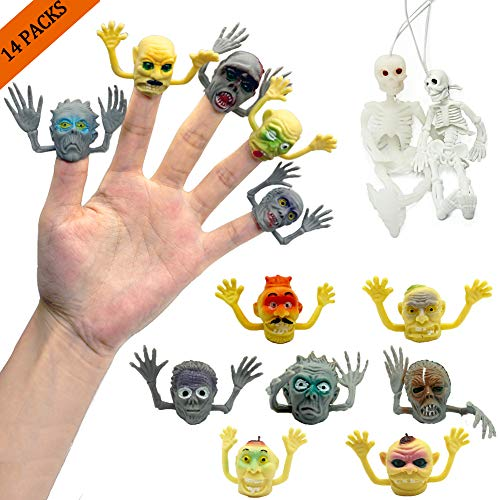 THREE BEARS Monster Finger Puppets for Zombie Party Supplies with 2 Sets of Hanging Full Body Skeletons Halloween Decorations Prop,Perfect for Cake Decorating,Stotytime Party Favors(14 Packs) -