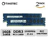 Timetec Hynix 16GB Kit(2x8GB) DDR3 1600MHz PC3-12800 Unbuffered ECC 1.5V CL11 2Rx8 Dual Rank 240 Pin UDIMM Server Memory Ram Module Upgrade (16GB Kit(2x8GB))