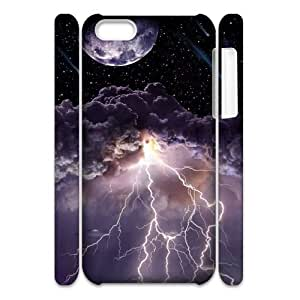 3D iPhone 5C Case,Moon Asteroids Storm Clouds Lightning Hard Shell Back Case for White iPhone 5C
