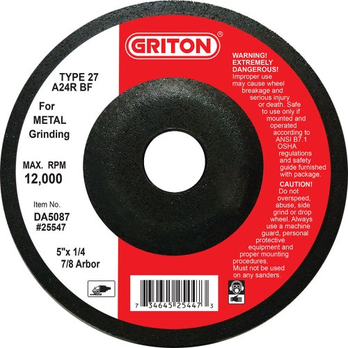 (Griton DA5087 Type 27 Grinding Wheel Used on Metal, Aluminum Oxide, 12000 RPM, 5