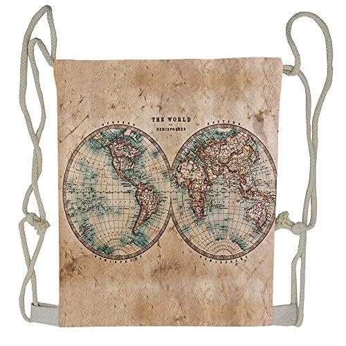 AoshangGardeflag Old World Map from 1800s for Geography and History Print Drawstring Backpack Rucksack Shoulder Bags Training Gym Sack For Man And Women