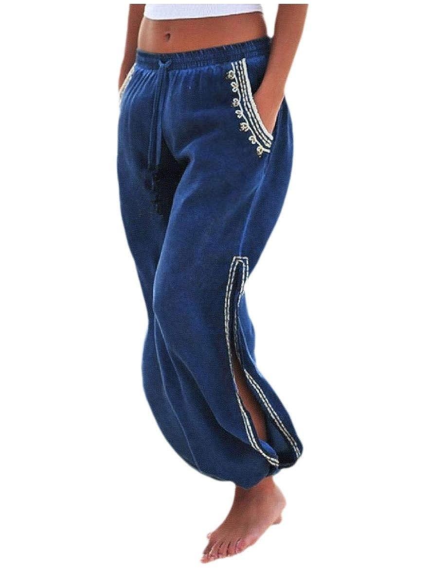 HEFASDM Women Side Split Beachwear Haren Pants Elastic-Waist Pockets Palazzo Pants
