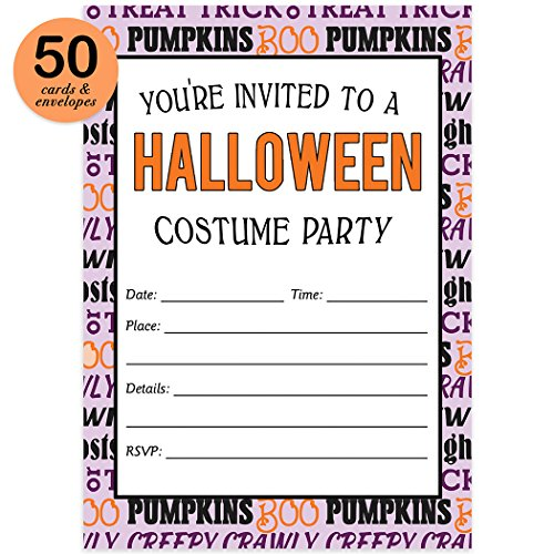 Teen Costume Party Halloween Invites & Envelopes ( Pack of 50 ) Fun Dress Up Celebration Large Blank 5x7