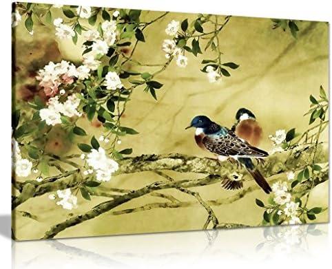 Oriental Canvas Art Birds Plum Blossom Canvas Wall Art Picture Print 36x24in