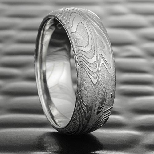 Ocean Inspired Damascus Wedding Band with Palladium Liner | TIDEPOOLS