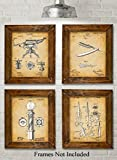 Original Barber Patent Art Prints - Set of Four Photos (8x10) Unframed - Great Gift for Barbers or Barber Shops