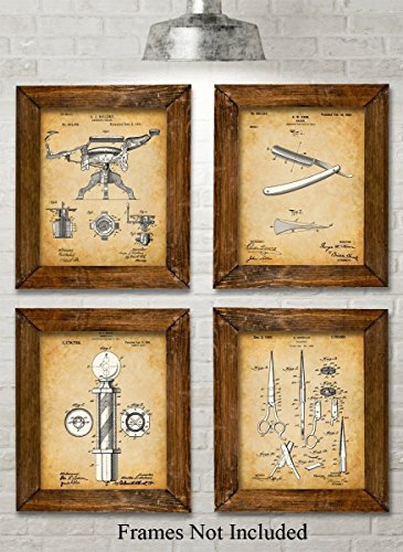 Original Barber Patent Art Prints - Set of Four Photos (8x10) Unframed - Great Gift for Barbers or Barber ()