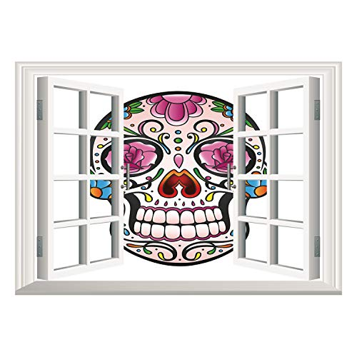 SCOCICI Wall Mural, Window Frame Mural/Sugar Skull Decor,Spooky Sugar Skull with Pink Roses Twigs Blooms Teeth Smile Halloween Decorative,Multicolor/Wall Sticker Mural -