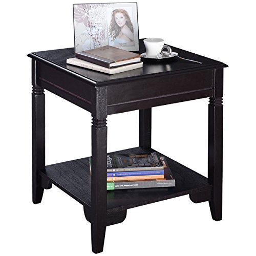 Cheap Giantex Wooden End Table Side Table W/Drawer Storage Bedside Sofa Table for Living Room, Bedroom, Solid Sturcture Environment Friendly Pine Material Espresso Coffee Table Nightstand