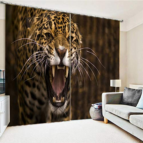 KRWHTS Black 3D Leopard Print Curtain for Kitchen Dining Living Room Bedroom Window Drapes 2 Panel Set (Accessories Print Bedroom Cheetah)