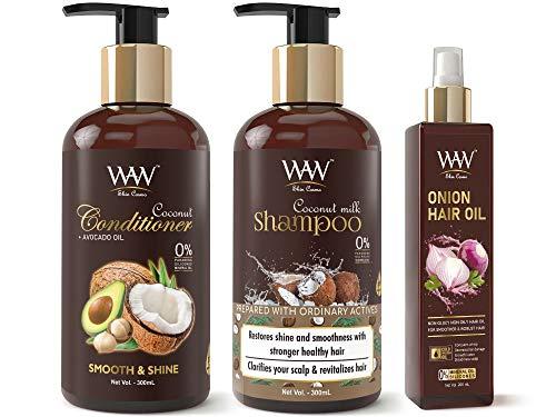 Waw Skin Cosmo Coconut Milk Conditioner, Coconut Milk Shampoo & Onion Oil Anti Hair Fall Combo Kit (3 Items in The Set)
