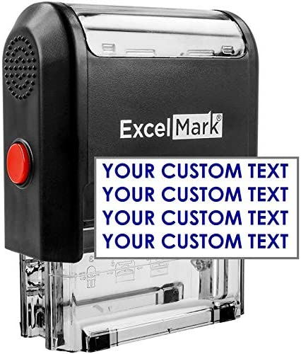 Small Personalised Self Inking Stamp Custom Made Size 26 x 9 mm with up to 3 Lines of Text and 5 Ink Colours Colop Printer 10 Red, Line 1