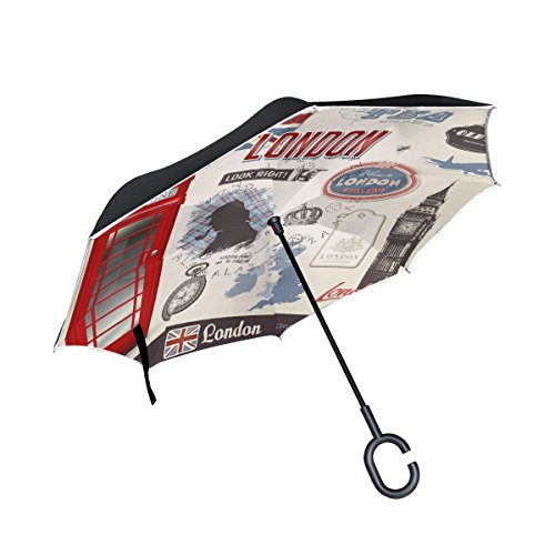 imobaby Retro Style Red Telephone Booth Straight Self-standing Reserve Rain Car Umbrella Large Double Layer Inverted Folding Umbrella Waterproof Umbrellas for Car