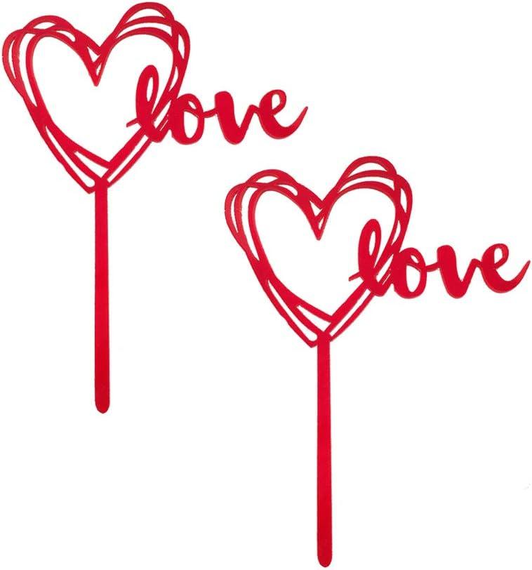 BESTOYARD 10 Pezzi Rosso Amore Torta Toppers Acrilico a Forma di Cuore Cake Topper Decorazione Torta Frutta Picks per San Valentino Compleanno Festa di Nozze di Fidanzamento Forniture