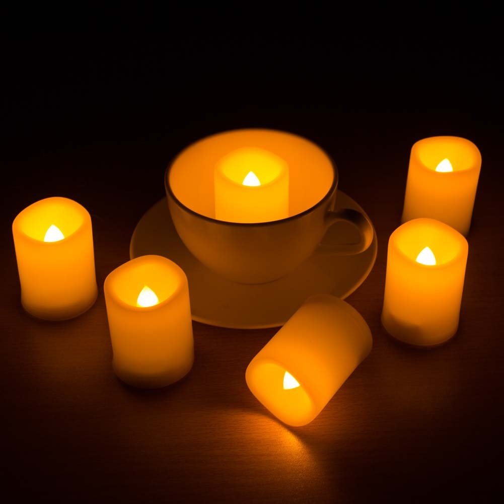 Beichi Set of 6 Remote Control Votive Candles Battery Operated, Flameless Flickering Tealight Candles, LED Timer Tea Lights in Amber Yellow Flame, Unscented Outdoor Electric Candles, D1.5''x2''H by Beichi (Image #6)
