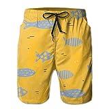 Adults Blue Fish Fishing Shorts Elastic Waist Quick Dry Board Shorts