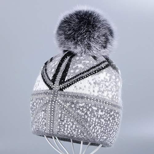 d2e5eb0ab Amazon.com: HOKUGA New Women Beanies Real Fox Fur Pom Poms Ball Cap ...