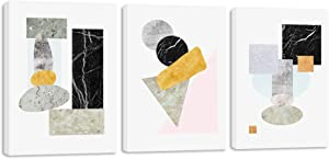 3 Panels Marble Black Grey Abstract Geometric Decoration Painting Canvas Wall Art Printing Poster for Living Room Bedroom Wall Decor - 12x16 inch x3 panel