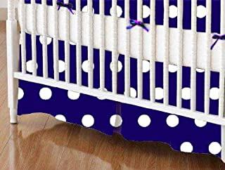 product image for SheetWorld 100% Cotton Percale Crib Skirt 28 x 52, Polka Dots Royal, Made in USA
