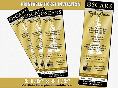 Oscar Awards Party Golden Ticket Invitation, -