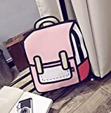 Genius_Baby 3D Drawing Paper Bag Comic Vintage Backpack for College Girls Laptop Bag (Pink)