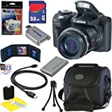 Canon PowerShot SX500 IS 16.0 MP Digital Camera (Black) + Replacement NB-6L Battery + 32GB Accessory Kit