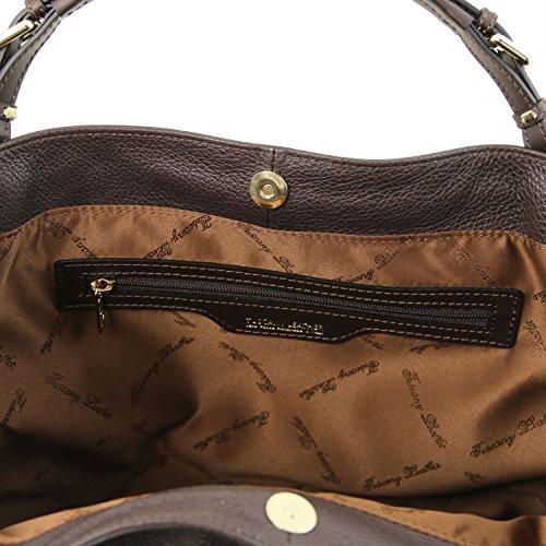 Morbida Ambrosia Pelle In Shopping Bianco Di Leather Tracolla Tuscany Con Moro Borsa Testa 6OqwYFH51