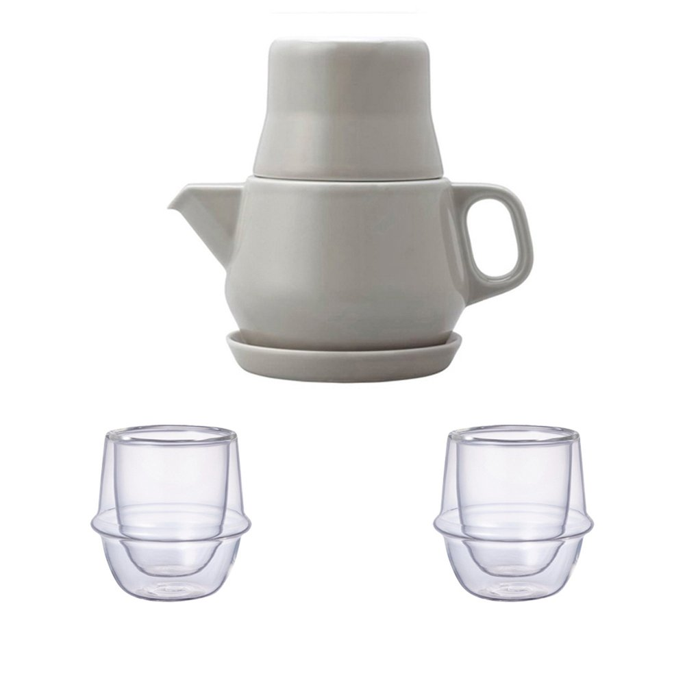 KINTO Gray Tea For One and Two KRONOS Double Wall Glass Espresso Cup, Set of 3 by KitcheNova (Image #1)
