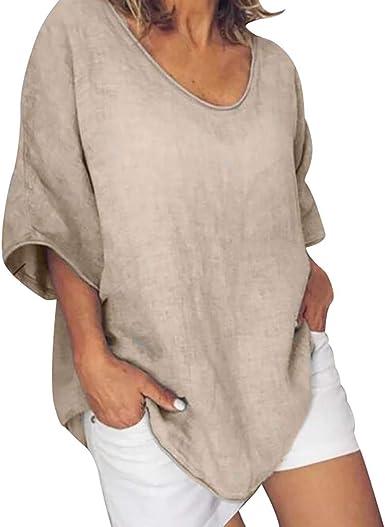 Geilisungren Camisa de Mujer Puro Lino 2 Bolsillos con Tapetas Blusa Suave Camisa de Lino Suelto para Mujer Tallas Grandes, Blusa Casual V (2-Caqui, XL): Amazon.es: Ropa y accesorios