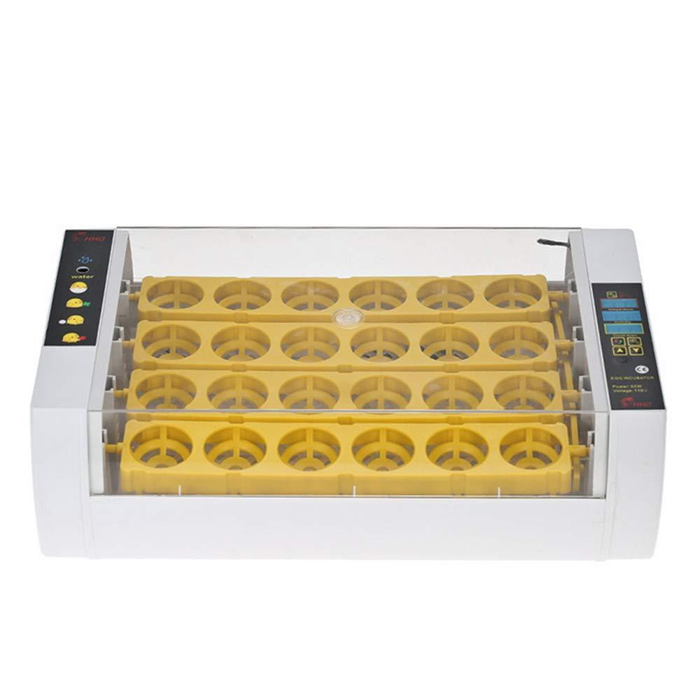 WAZA HHD 56/24 Stück Brutmaschine vollautomatisch Hühner, Brutapparat Flächenbrüter Inkubator Eingebaute Schierlampe Transparenter Deckel Automatische Temperatur