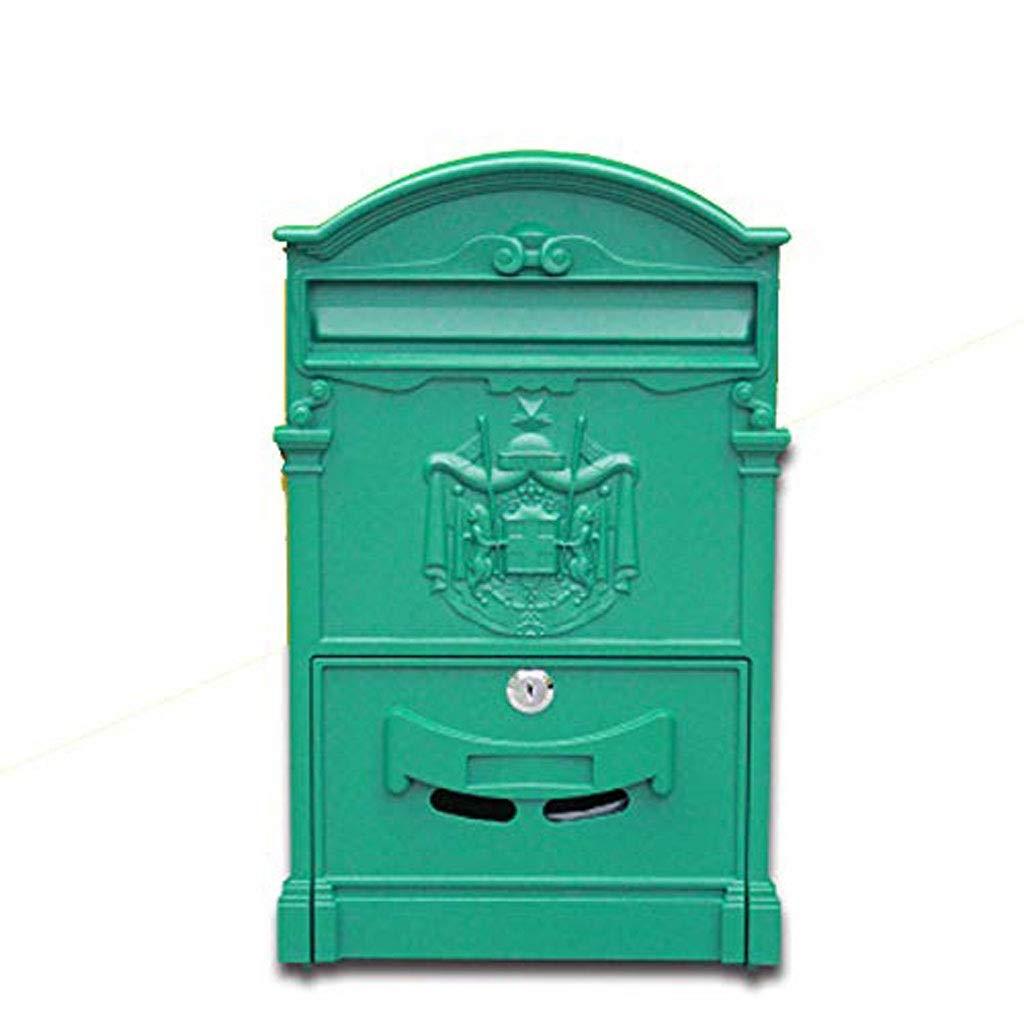 SCMAI ビンテージ壁掛けメールボックスロック可能なポストボックス安全なレターボックス、2キー付き防水キャストアルミメールボックス (色 : C)  C B07RTNNQ4J