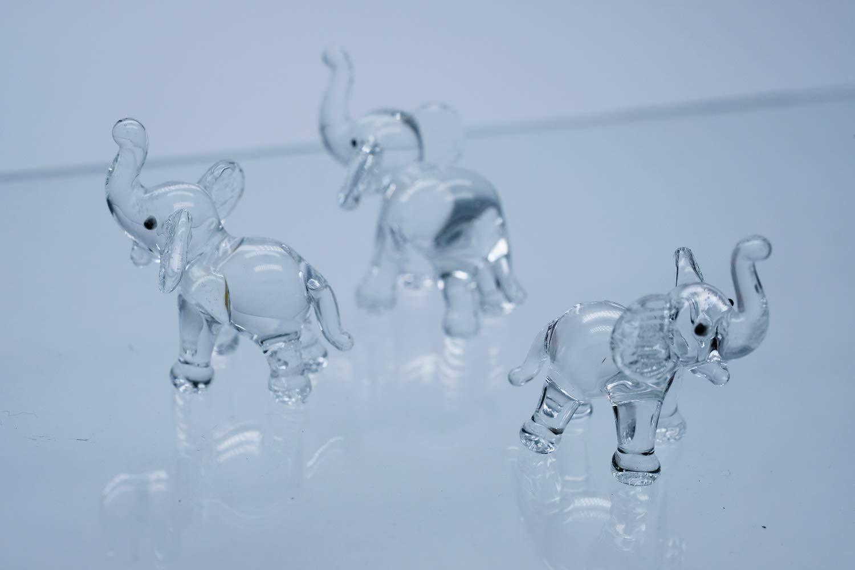 ChangThai Design 3 Pcs Elephant Up HandBowl Glass Dollhouse Miniatures Decoration Figurine Collection