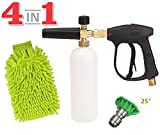 SPAUTO High Pressure Washer Gun 3000 PSI Foam Wash Gun Snow Foam Lance Foam Cannon Blaster with M22-14mm Thread and Wash Mitt & Nozzle Set