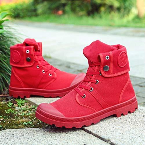 Autunno Alto Uomini Tela Sneakers Caviglia Moda Inverno Stivali di Confortevoli alla Rosso Stivali qxattBw6