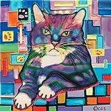 """Napperf Cat - Decorative Ceramic Art Tile - 8""""x8"""" En Vogue"""