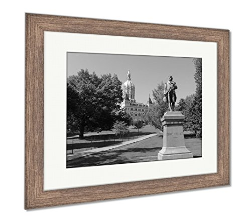 Ashley Framed Prints Capitol Building Connecticut State Capitol Hartford Ct USA, Wall Art Home Decoration, Black/White, 34x40 (Frame Size), Rustic Barn Wood Frame, ()