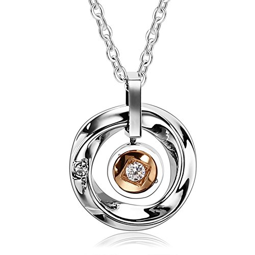 Different Types Of Nerd Costumes (Beydodo Stainless Steel Pendant Necklace for Her Womens Necklaces Halo Rings Rose Gold Cubic Zirconia)
