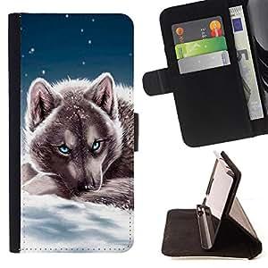- Snow Puppy Wolf Christmas Winter - Estilo PU billetera de cuero del soporte del tir???¡¯???3n [solapa de cierre] Cubierta- For Samsung Galaxy S6 ( Devil Case )