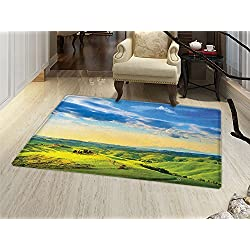 Tuscany Bath Mat for tub Sunset in Tuscany Rural Farmand Cypresses Trees Sunlight Volterra Italy Door Mats for inside Bathroom Mat Non Slip Backing Sky Blue Pale Green