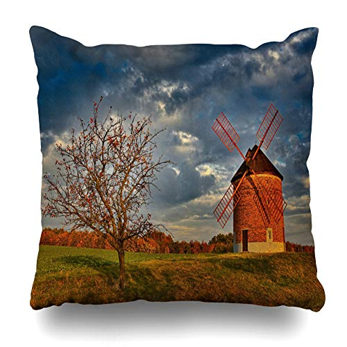Ahawoso Throw Pillow Covers Chvalkovice Blue Old Windmill Autumn Time Holland Agriculture Parks Green Czech Design Home Decor Zippered Pillowcase Square Size 20 x 20 Inches Cushion Case ()